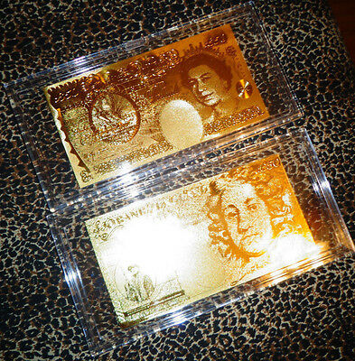 24 KT GOLD - Great Britain _ England 50 POUND BILL COMES IN ACRYLIC GIFT HOLDER.