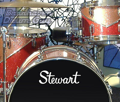 Stewart, 60s/70s Vintage, Repro Logo - WHITE Adhesive Vinyl Decal, for Bass Drum