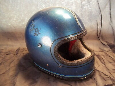 70's Vintage motorcycle helmet full face blue Size small pinstripes Thumper