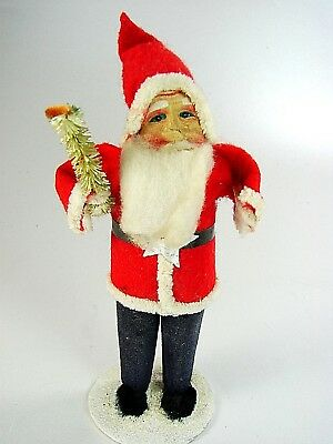 """ANTIQUE CLASSIC RED/BLUE SANTA w CELLULOID  FACE -  probably JAPAN""""  1930-40s"""