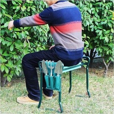 Wide Seat Garden Kneeler Bench Foldable Seat Portable Stool with Kneeling Pad