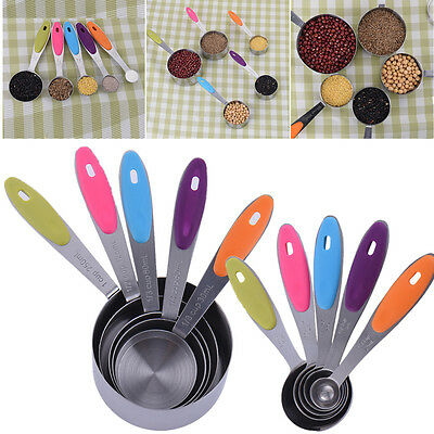5x Stainless Steel Measuring Spoon Silicone Handle Measuring Cup Kitchen Tool UK