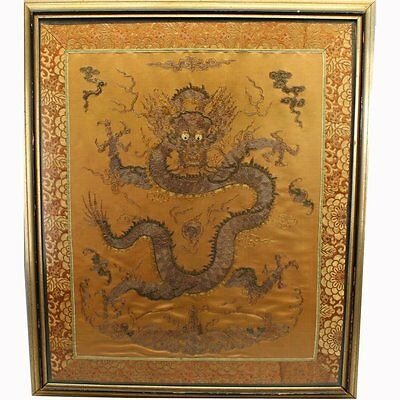 Antique Chinese oriental  Embroidered Silk Dragon Tapestry