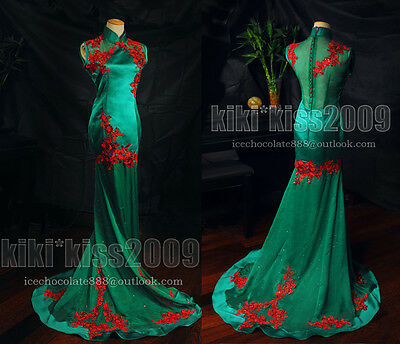 Gothic Chipao Vintage Cheongsam Lace Gown Evening&Wedding Green Red Full Dress