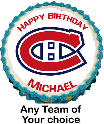 Any Team Custom NHL Team Logo Personalized Edible ICING Image Round CAKE Topper