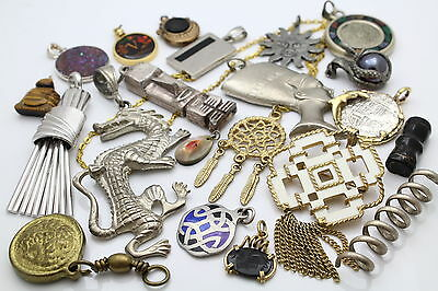 Lot of 21 Fashion Jewelry Pendants in Mixed Fun and Funky Styles