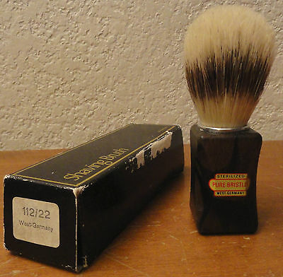 Vintage Sterilized Pure Bristles Shaving Brush w/ Box - West Germany 112/22 wood