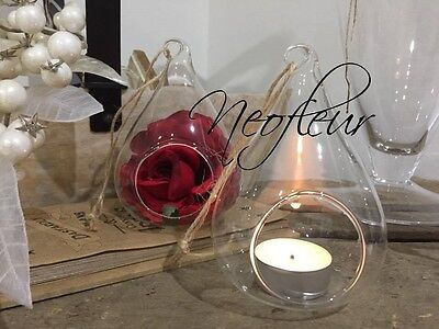 6 Clear Glass hanging teardrop pear bauble tealight candle holder. Christmas