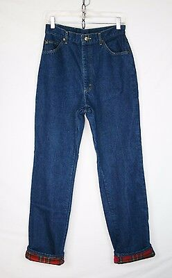 Womens Vintage LL Bean FLANNEL LINED Jeans Camping Hiking // M or 30x33 // w152