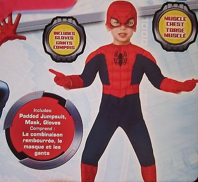 The Ultimate Spider-Man Muscle Child Costume INCLUDES GLOVES SIZE 2T NEW 510155