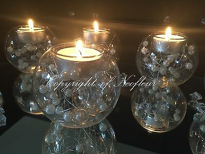 Vintage Glass & Pearl Bauble Tealight Candle Holder Wedding Table Decoration