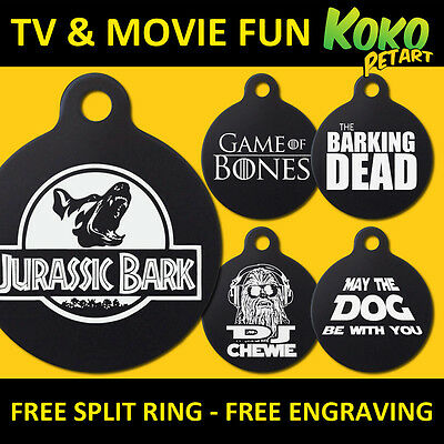 Funny Movie TV Parody Dog Pet Puppy ID Tag Personalised Engraved Round Aluminium