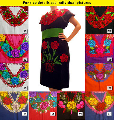 Authentic handmade embroidered ethnic dress from Mexico Chiapas.