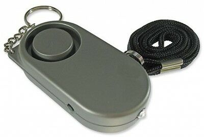 Grey Mini Key Ring Portable Personal Day Night Safety Loud Alarm With Torch NEW