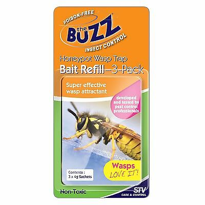 The Buzz WASP TRAP BAIT REFILL SACHETS, Poison-Free, Super Effective Attractant