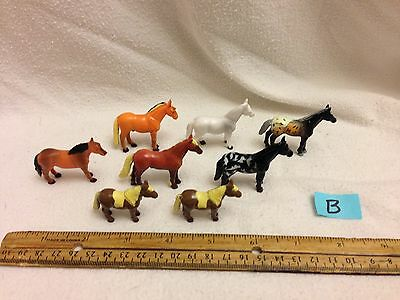 Lot Of 8 Small Plastic Horses Pretend Play Cake Toppers GUC