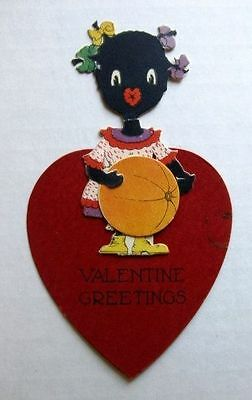 1930s Little Black Girl w/ Pig Tails  in Heart Valentine's Day Card