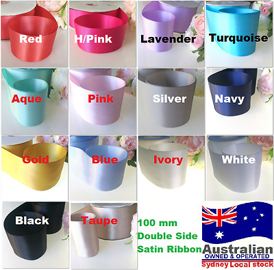 """10cm 4"""" 100mm Double Face Satin Ribbon Wedding Party SASHES 1m white ivory Pink"""