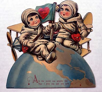 Rare 1920s Space Themes Mechanical Valentine's Day Card  Very Cute