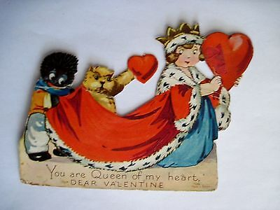 Vintage Black Americana Valentine w/ Queen,Crown & Cape w/Garfield Type Cat *