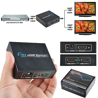 1 IN 2 OUT HDMI Splitter Duplicator Amplifier 3D Full HD 1080P/ AC Power Charger