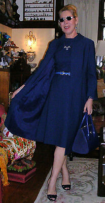 VINTAGE 60s NAVY SATIN LINED POLY SHIFT DRESS &SWING COAT by PETITE FRANCAISE MD