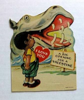 1920s Valentine's Day Card w/ Black Boy and Hippo B