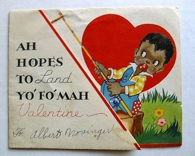 1930s Black Fisherman Fishing Valentine's Day Card