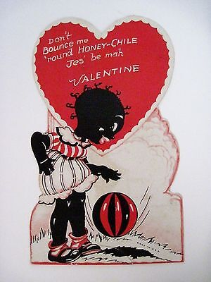 Vintage Antique  Black Americana Valentine Card w/ Girl and Ball Stand-Up Card *