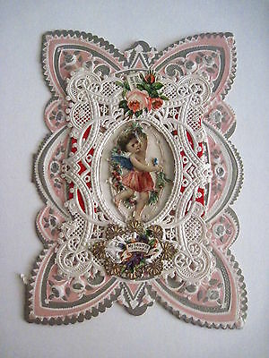 Vintage Antique 1900's Valentine Card w/ Lace & Cupid In The Middle w/ Notes *