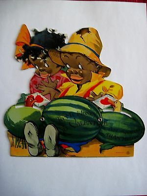 Vintage Mechanical Black Americana Valentine -Watermelon, Chicken & Duck *
