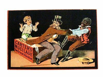 """1800's Black Americana Trade Card for """"Carter's Mucilage"""" Glue and Ink *"""