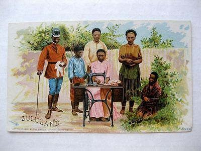 1892 Advertising Trade Card Singer Sewing Machine Zululand Black Family