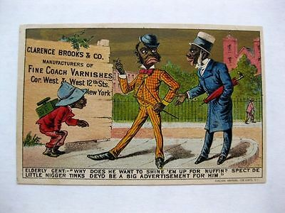 Advertising Trade Card Clarence Brooks Coach Varnishes w/ N Word in Ad