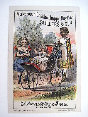"Charming Victorian Trade Card - ""Sollers & Co.'s Fine Shoes - Black Americana *"