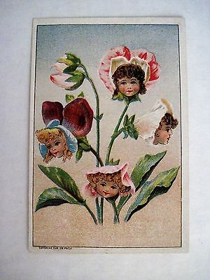 "Vintage Victorian Trade Card for ""Cleansine-Cleanser"" w/ Flower Girls *"