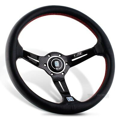 """NARDI Torino 14"""" Deep Dished Black Leather Carbon Fiber Steering Wheel with Horn"""