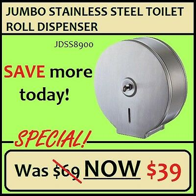 Stainless Steel Jumbo Toilet Roll Dispenser. Classic Style with a satin finish t