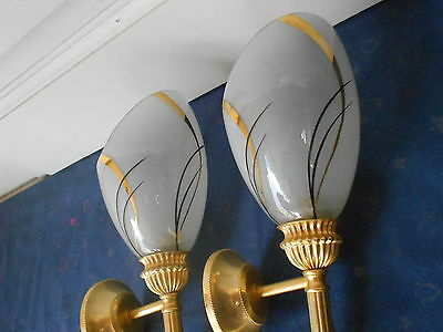 Pair old french brass Wall LIGHT SCONCES / Gilded motifs