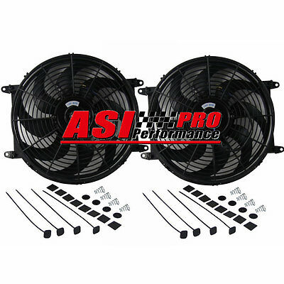 """14"""" inch 12v 80w PULL/PUSH Electirc Thermo Curved Blade FAN MOUNTING KIT"""