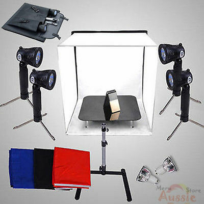 Portable Camera Photo Studio Softbox Lighting Cube Light Tent 4 Backdrops Kit