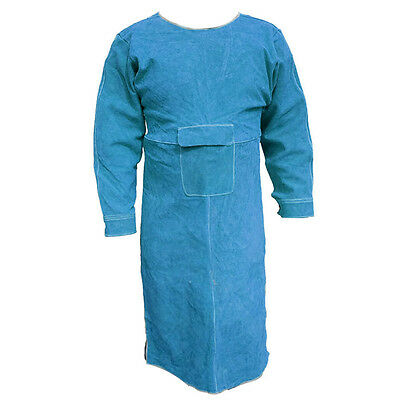 "40.5""L Leather Welding Apron Heat Insulation Protection Safety Apron Coats Blue"