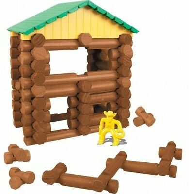 Lincoln Logs Mountaintop Cabin Hideout Toy With Bear Cowboy And Outlaw Figurines