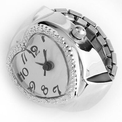 Silver Tone Quartz Heart Pocket Finger Ring Watch SH