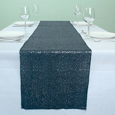 """12"""" x 72"""" Navy Blue Sparkly Banquet Sequin Table Runner Event Table Decoration"""