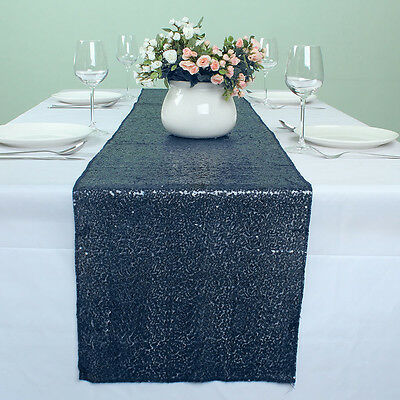 """12"""" x 108"""" Navy Blue Glitter Banquet Sequin Table Runner Party Table Decoration"""