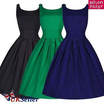Womens Vintage 1950s Style Retro Rockabilly Swing Dress Cocktail Evening Party