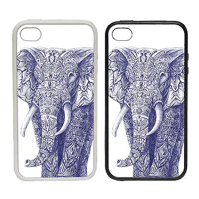 Elephant Drawing-Rubber and Plastic Phone Cover Case-Ballpoint Pen Art Style