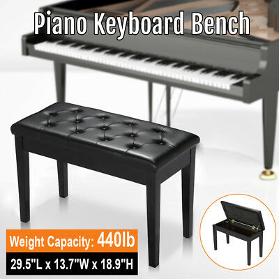Black Ebony Wood Leather Padded Concert Duet Piano Keyboard Bench Book Storage