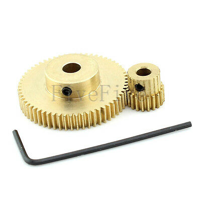 60/20T 0.5 Module Motor Metal Spur Gear 3/4/5/6mm Bore Hole Set Kit Ratio 3:1